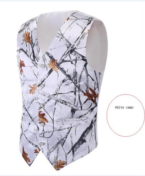 2018 immagine reale camo bianco Hunting groom Gilet Mossy Oak Camo Tuxedo Vest solo Camo da uomo Gilet da sposa Camouflage formale Caccia gilet