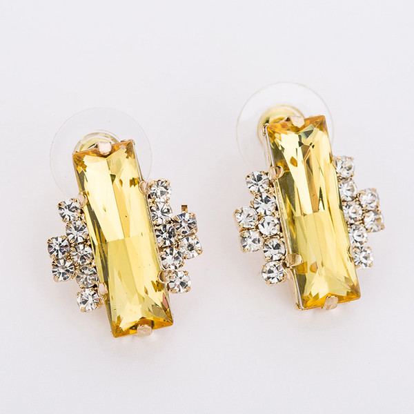Fashion Big Gold \Black Color Crystal Earrings For Women Vintage Female Sparkling Stud earring Accessories Jewelry #E087