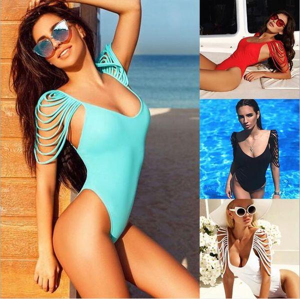 Seksi Backless Bikini Mayo Saçak Püsküller Omuz Tek Parça Yüzmek Aşınma Pedleri ile Bayanlar için Mayolar Ücretsiz kargo