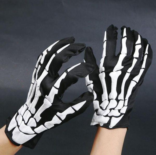Moda Halloween Horror Crânio Esqueleto de Osso de Garra Goth Luvas Completas Luvas de Inverno Mulheres Homens Luvas de Condução