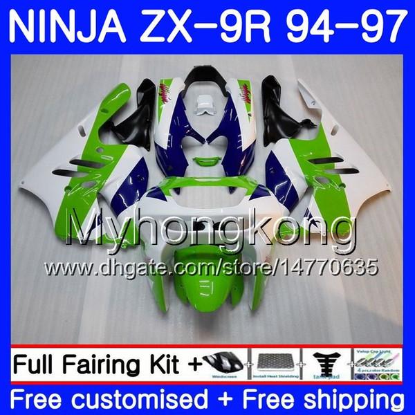 Cuerpo para KAWASAKI NINJA ZX900 ZX 9R 1994 1995 1996 1997 221HM.35 ZX 9 R 900 900CC Verde azul caliente ZX-9R 94 97 ZX9R 94 95 96 97 Kit de carenado