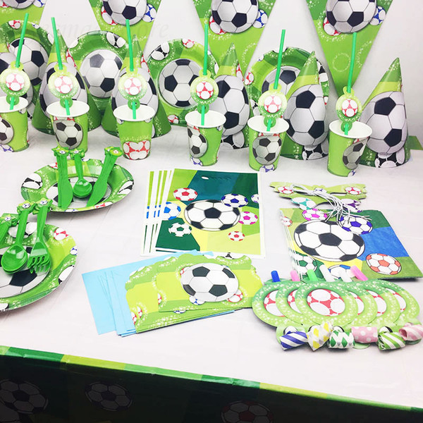 Compre Para 6 Niños Party Set Fútbol Vajillas Vajillas Banner Fiesta De Cumpleaños Decoración Caramelo Caja De Regalo Suministros Tarjeta De
