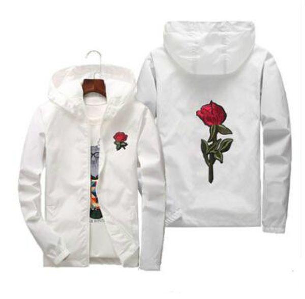 Red Rose Imprimé Casual Vestes Hommes Femmes À Capuche Coupe-Vent Mâle Femelle Couleur Unie Broderie Manteaux Taille Asiatique S-7XL