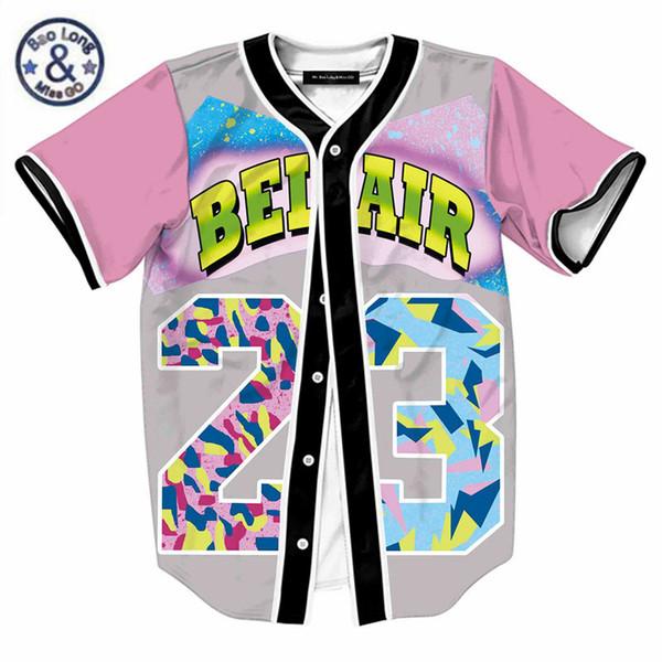 Mens Single Breasted 3D Shirt Streetwear Hip Hop Summer T Shirt Bel Air 23  Fresh Prince Chill Flower Overshirt Baseball Jersey 0dedf7cc3