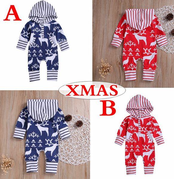 XMAS Christmas Baby Boys Girls Romper Autumn Cartoon Deer Hooded Toddler Long Sleeve Jumpsuit Fashion Infant elk Stripe Onesie 0-2T