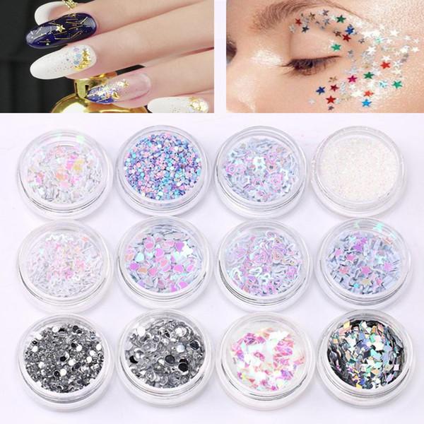 Face Sequins Nail Gillter Stars Eyeshadow Face Body Nails Art Gems Sequins 12pc Nail Art DIY Glitter Mix Craft