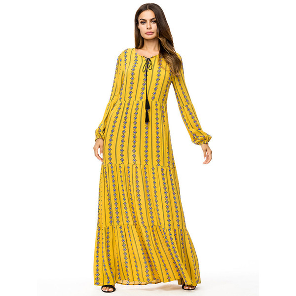 Women Fashion Muslim Long Sleeve Geometric Print Yellow Loose Casual  Turkish Arabic Islamic Kaftan Plus Size Maxi Dress White Dresses White  Dress From ...