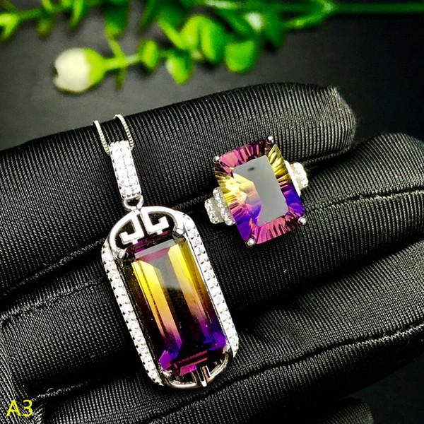 KJJEAXCMY Boutique jóias 925 prata pura incrustada roxo amarelo pingente de cristal feminino pingente de anel 2 conjuntos de cor prata.