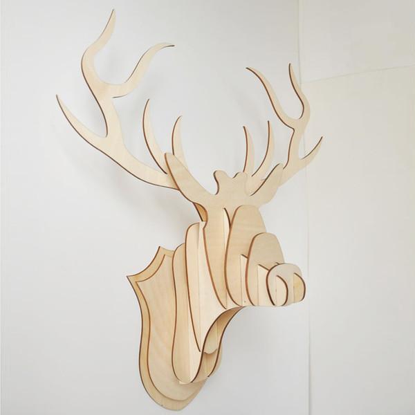 Große Größe Holzfurnier DIY Hirsch Hirschkopf Wand Bausteine Holz Kunst Dekoration