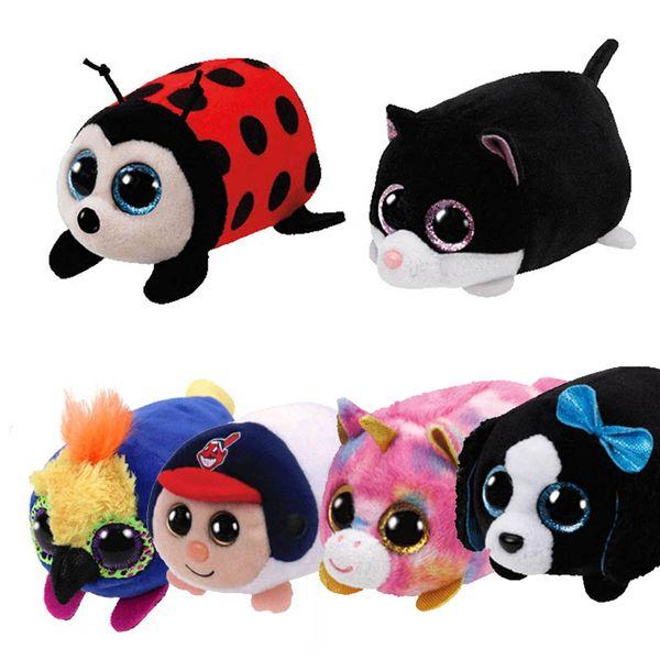 TY Beanie Boo teeny tys Plush - Icy the Seal 9cm Ty Beanie Boos Big Eyes Plush Toy Doll Purple Panda Baby Kids Gift