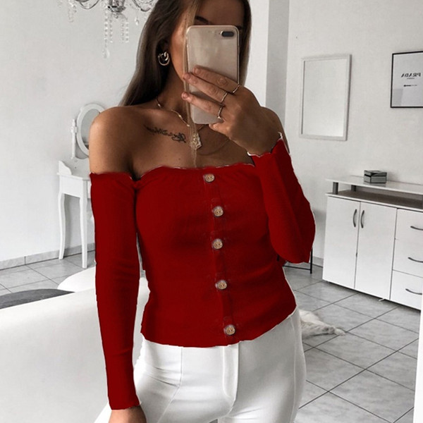Trendy Women Clothes Solid Casual Off Shoulder Button Pullover Blouses Long Sleeve Casual Shirts Tops One Pieces