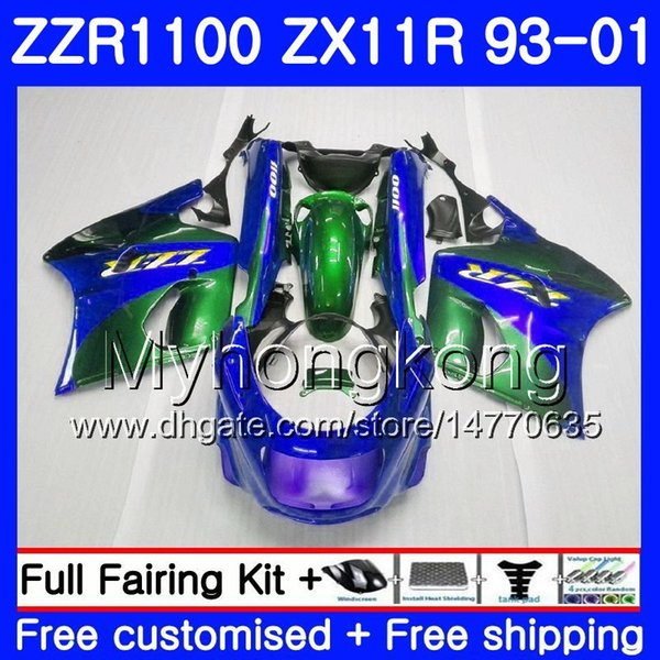 Body For KAWASAKI NINJA ZX 11R ZX11R 93 98 99 00 01 206HM.27 ZZR 1100 ZX11 R Green blue HOT ZZR1100 ZX-11R 1993 1998 1999 2000 2001 Fairings