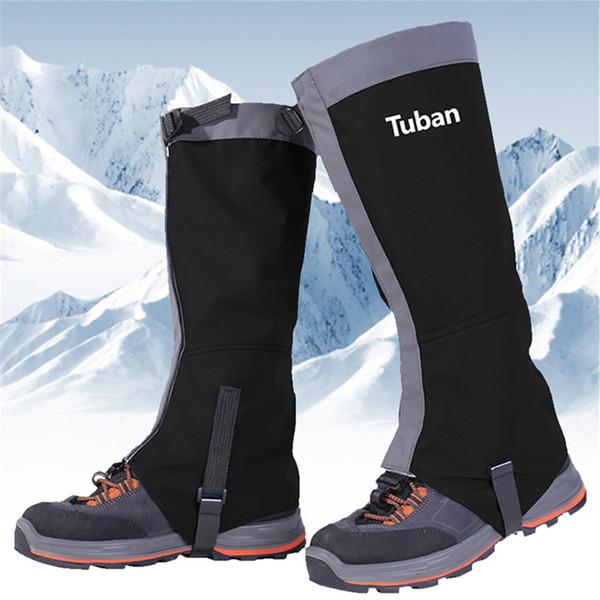 Su geçirmez Kar Açık Kayak Çorapları Çizme Ayakkabı Bacak Erkekler Kadın Legging Siyah Kapakları