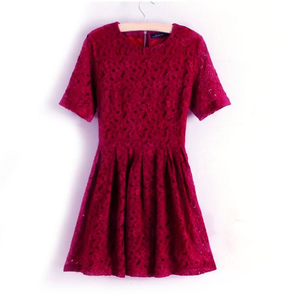 Elegant Women Lace Dress Floral Lace Short A-line Dress Wine Red One-piece Party Prom Slim Skater Dress Burgundy Vestidos 2018
