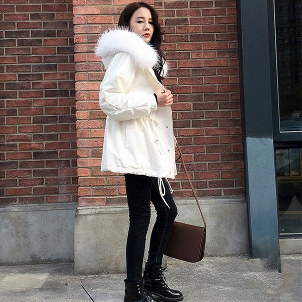 Autumn Winter New Fur Collar Thick Long Parkas Elegant Hooded Lace-up Loose Parka Coat Casual Women Outerwear