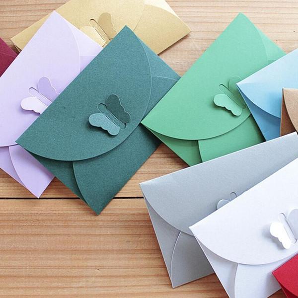 FangNymph Colored Butterfly Buckle Kraft Paper Envelopes Simple Love Retro Buckle Decorative Envelope DIY Gift Envelope 10PCS