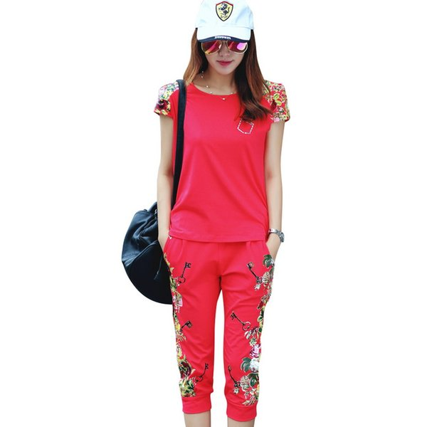 Cotton Fashion Flowers Printed Women Tracksuit Casual T -Shirts +Pants Lady Clothing Suit Size L -4xl China Style Summer Lady Sets