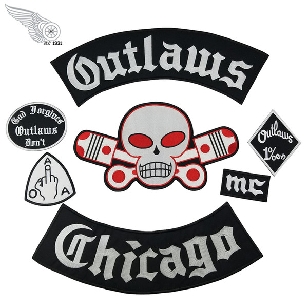 Popolare Outlaw Chicago Ricamo Patch per abbigliamento fresco completo posteriore Rider Design Iron On Jacket Vest