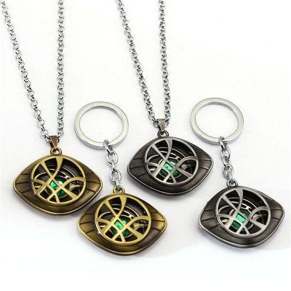 Doctor Strange Keychain Crystal Eye of Agamotto Key Chain Movie Key Ring Holder Pendant Chaveiro Jewelry Souvenir Beading Necklace