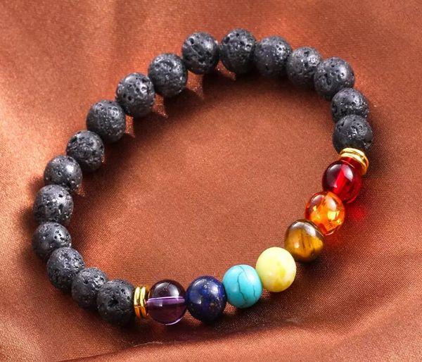 Hot Sale Natural Lava Volcanic Stone Essential Oil Bracelet For Men Women Jewelry 7 Chakra Diffuser Bracelet Energy Beads Bangle B124S F