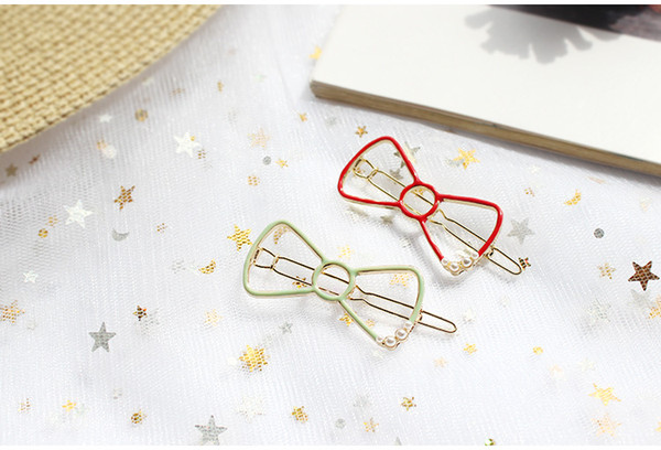 New Lovely Red Green bow Hair Clips with Pearl ,Pearl Hairpins for girls baby free shipping