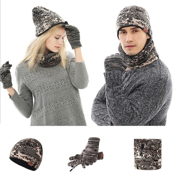 2018 Unisex Camouflage Knitted Winter Hat Scarf Glove Set Men Thick Touch Screen Glove Beanies Ring Scarf Women Female Male Gift