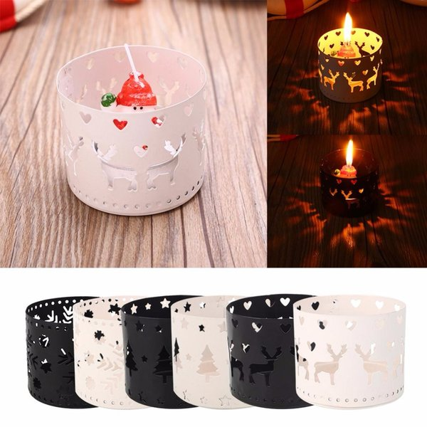 Hot Sale Mini 5x6.5CM Vintage Moroccan Christmas Iron Candlestick Candle Holder Hollow Snowflake Tree Deer Valentine Home Party Decoration