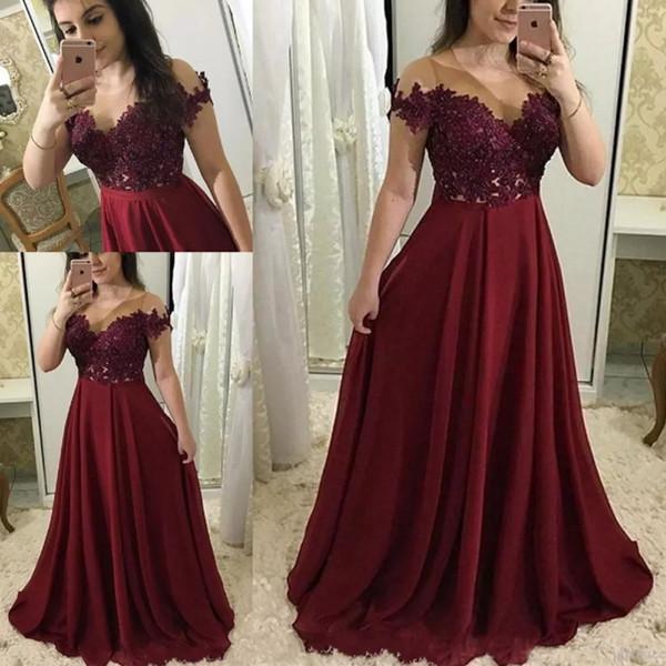 Compre 2019 Elegantes Apliques De Encaje Vestidos De Noche Illusion Escote Vestidos De Fiesta Vestido Largo De Gasa De Las Mujeres Para El Baile A