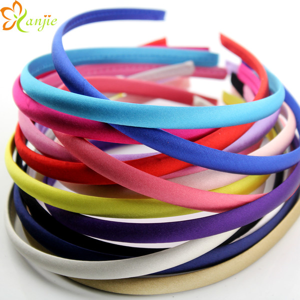 DIY Chic 10mm 15 Colour 45pcs/lot Girls Hair Clips For Kids Satin Covered Plastic Hairband Hair accessories DIY Headwear