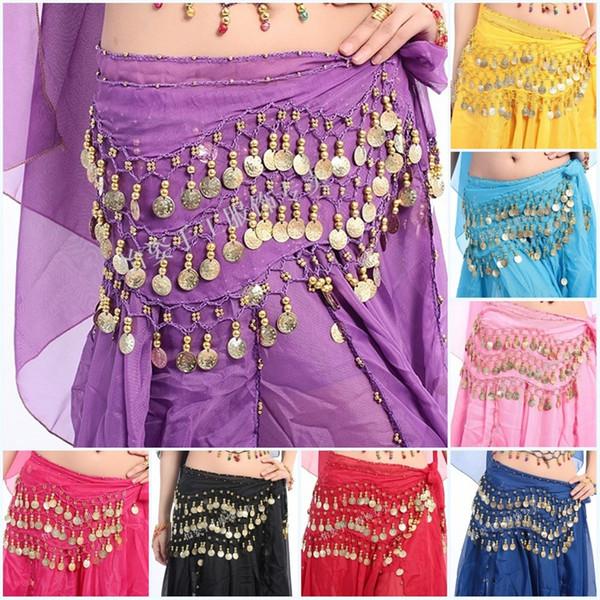 12 цветов 3Rows 98Coins танец живота Египет женщина Леди шифон хип юбка шарф обернуть пояс костюм мода 6 5sc bb
