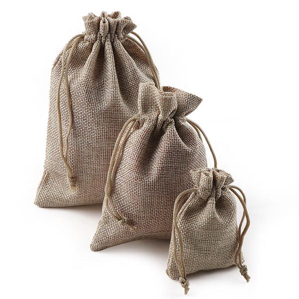 Christmas Linen Jute Drawstring Gift Bags Sacks Wedding Birthday Party Favors Drawstring Gift Bags Baby Shower Supplies 10pcs/bag