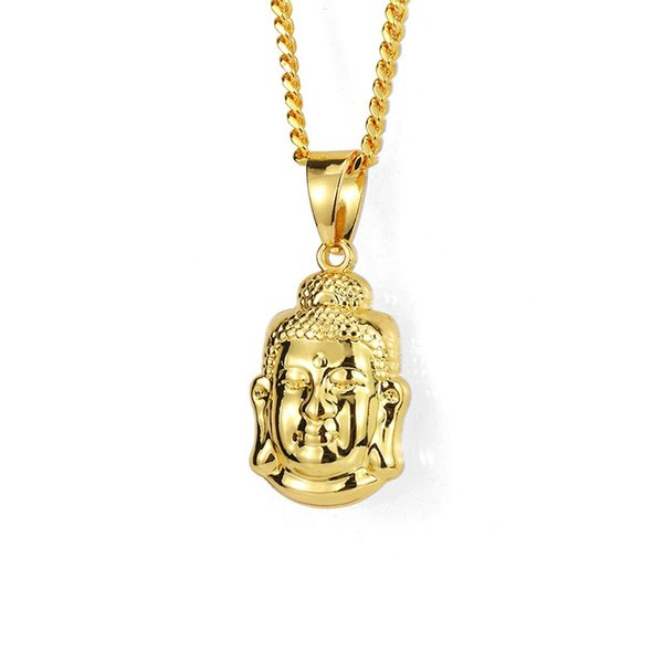 Fashion Men Ice Out Small Buddha Pendant Necklace 18k Gold Plated 60cm Long Chain Rock Micro Hip Hop Jewelry For Men