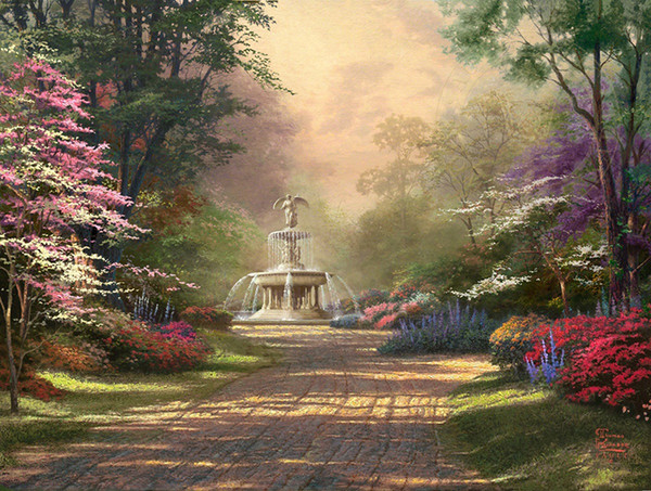 Thomas Kinkade Landscape Fountain Of Blessings,Oil Painting Reproduction High Quality Giclee Print on Canvas Modern Home Art DecorT336