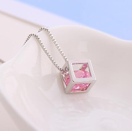 1 PCS Elegant cube pendant necklace with crystal collarbone chain fashion accessories birthday nice gift free ship