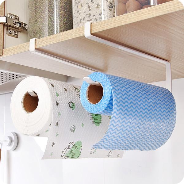 New Iron Kitchen Roll Paper Towel Holder toilet paper holder Tissue storage rack Cabinet hanging shelf kitchen organizer