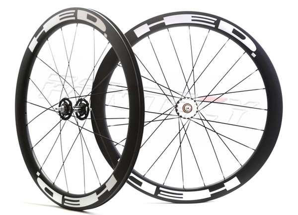 HOT sale!HED Free shipping 700C 50mm depth 25mm width clincher carbon wheels fixed gear track single speed wheelset with UD matte finishing