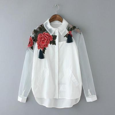 Women White Blusas Feminina Organza Flower Embroidery Mesh Hollow out Long Sleeve Shirt Blouse Clothes Tops Plus Size T5N214 Y1891109
