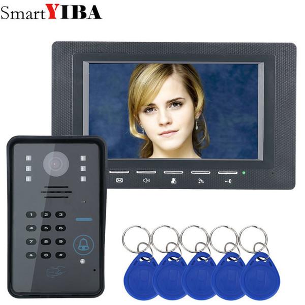 SmartYIBA 7 Inç RFID Erişim Kapı Telefonu Interkom kitleri Için Şifre Kodu Tuş IR Kamera Video Kapı Bell Ev Güvenlik Sistemi