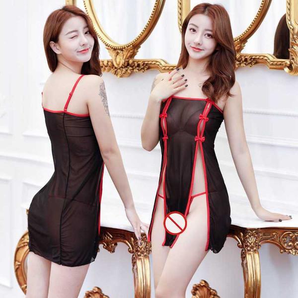 Frete Grátis Nova lingerie sexy cosplay malha Preta cheongsam saia dividida sexy saias ver-através das mulheres saia vestido de pijama
