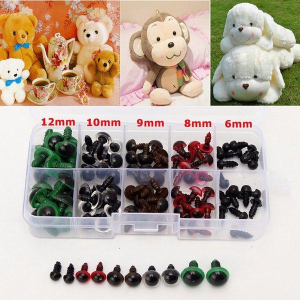 6-12mm 100 unids plástico ojos de seguridad para animales marionetas artesanía oso de peluche colorido ojos de seguridad muñeca de dibujos animados marionetas animales artesanía