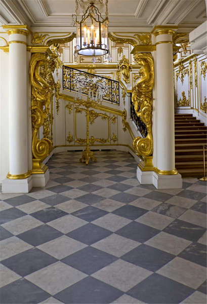 Gold Mosaic Pillars Luxury Interior Stairs Photo Studio Background Marble floor White Wall Candle Droplight Wedding Photography Backdrops