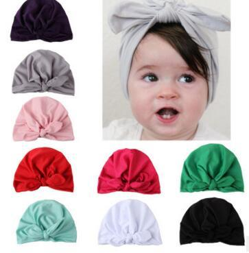 Baby Bow Bunny Ears pullover Hats Children multicolor India Hats Girls Boy Fashion free size Hair Solid Color Hats 51608