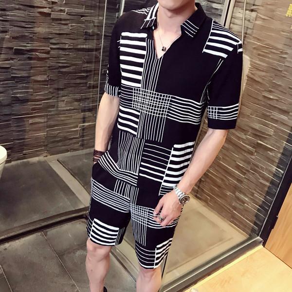 Fantasia de Duas Peças Conjunto de Verão Homens Club Party Camisas Para Hombre Ensemble Homme 2018 Designer de Treino Homens Casual camisa + curto