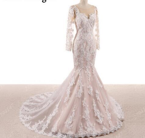 Long Sleeve Mermaid Wedding Dresses 2018 for African Black Girls Real Pictures Vestido De Noiva Corset Illusion Bridal Gowns