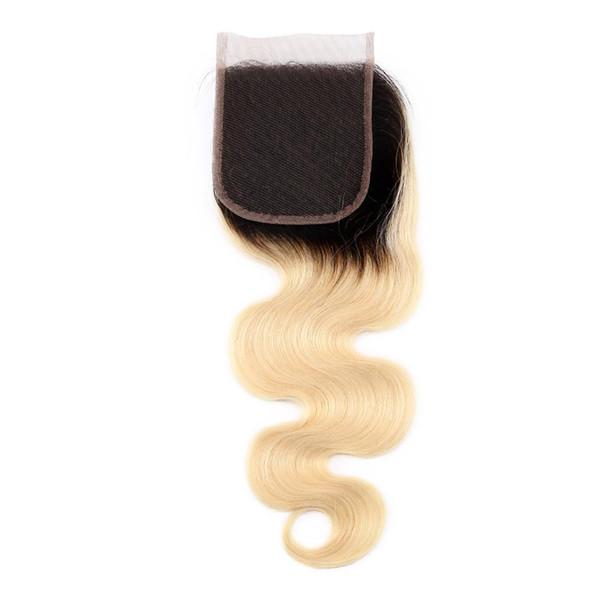 grande vendita Brasiliani dell'onda del corpo dell'onda capelli economici 4x4 Top pizzo chiusure pezzi con nodi candeggiati libero tre parti della parte centrale