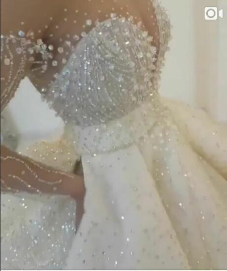 Evening dress Labourjoisie Long Dress Long Sleeve Beaded Sweet Heart White Ball Gown Zuhair murad Kim kardashianewelueigrLBkiiB
