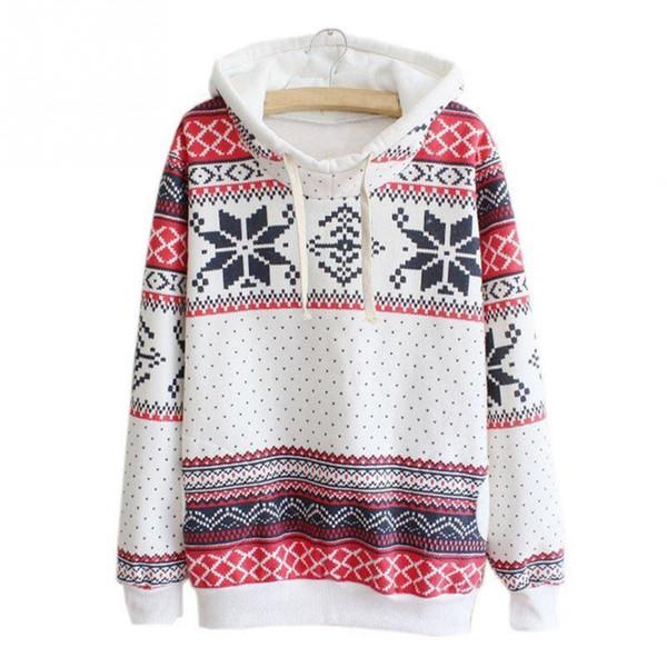 2019 Women Christmas Snowflake Printed Hoodies Sweatshirt Harajuku Hooded Pullover Jumper Tracksuit Sudaderas Mujer Plus Size