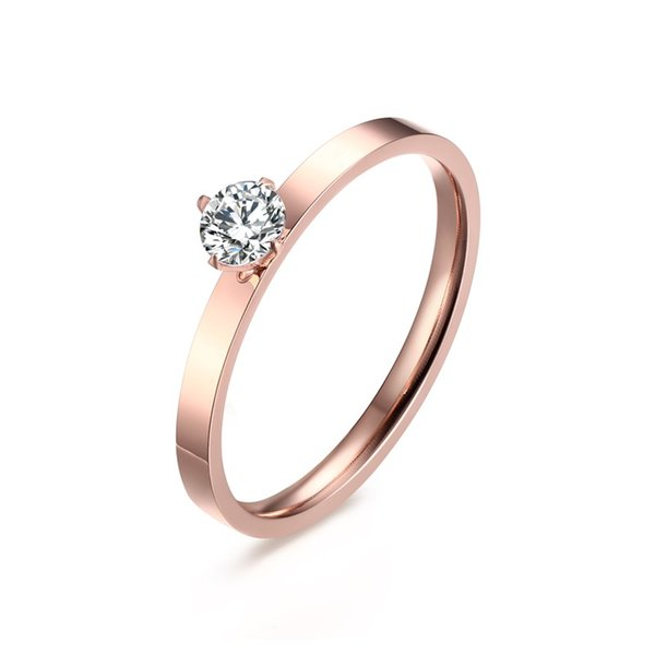2MM Rose Gold Plated Stainless Steel Flat Band 4 Prong Set Hearts and Arrows Cubic Zirconia Solitaire Wedding Engagement Stacking Rings