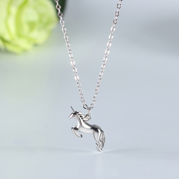 925 Sterling Silver lovely animal personality unicorn Pendant Necklaces original diy fashion Jewelry making for women gifts free delivery