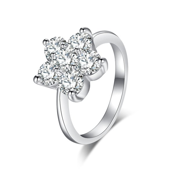 18K White Gold Plated CZ Five Petals Flowers 6-9 Size Finger Ring Fashion Party Wedding Jewelry Bijoux for Women Girls Hot Gift